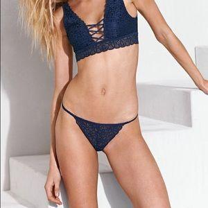 Navy blue lace Victoria secret G string